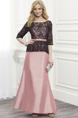 Lace Half Sleeve Scoop Neck Satin Formal Dress With Ribbon And Low-V Back