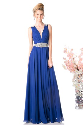 A-Line V-Neck Sleeveless Chiffon Low-V Back Dress With Waist Jewellery And Pleats