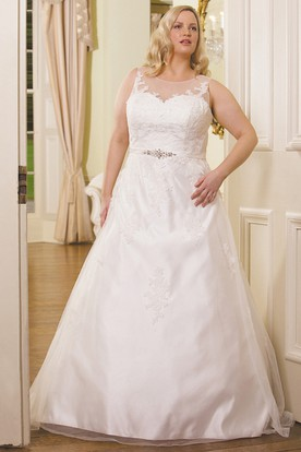 A-Line Scoop-Neck Sleeveless Appliqued Floor-Length Satin Plus Size Wedding Dress With Waist Jewellery