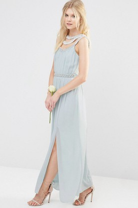 Ankle-Length Beaded Sleeveless Scoop Neck Chiffon Bridesmaid Dress With Straps