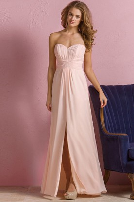 Sweetheart A-Line Empire Gown With Front Slit And Pleats