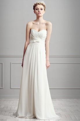 Sleeveless Long Sweetheart Ruched Chiffon Wedding Dress With Lace