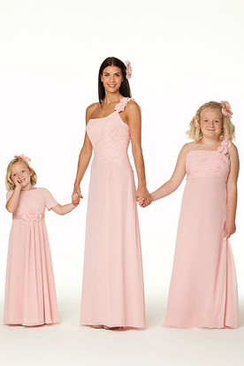 Floor-Length One-Shoulder Ruched Chiffon Bridesmaid Dress With Flower
