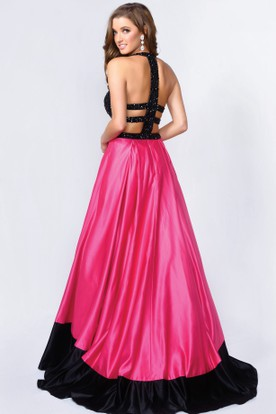 Muti-Color A-Line Jewel-Neck Sleeveless Satin Dress With Beading