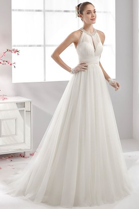 High-Neck Strapless Wedding Dress With Bandage Waist and Pleated Tulle Skirt