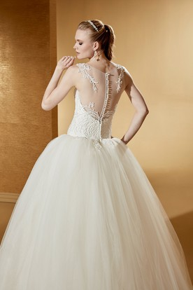 Illusive Jewel neck Wedding Gown with Exquisite Appliques and Puffy Skirt