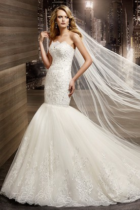 Strapless Mermaid Lace Wedding Dress with Brush Train and Appliques