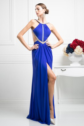 Sheath Long Scoop-Neck Sleeveless Chiffon Backless Dress With Split Front And Pleats