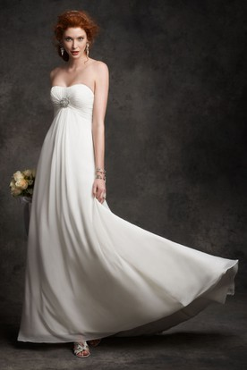 Strapless Floor-Length Ruched Empire Chiffon Wedding Dress