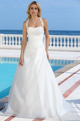 Long Halter Appliqued Satin Wedding Dress With Beading