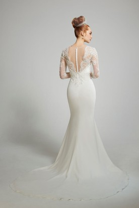 Sheath Long-Sleeve Scoop-Neck Floor-Length Chiffon Wedding Dress With Appliques And Illusion