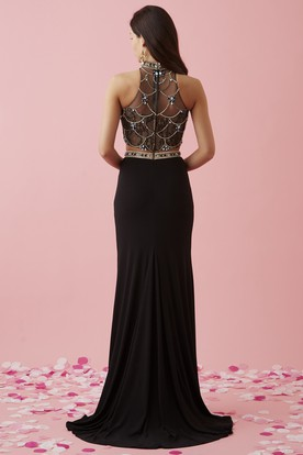 Two-Piece Sheath High Neck Sleeveless Jersey Lace Illusion Dress With Beading And Split Front