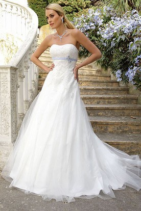 A-Line Strapless Lace Tulle Wedding Dress With Flower