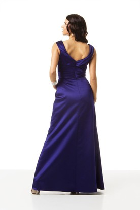 Side-Draped Sleeveless V-Neck Satin Bridesmaid Dress