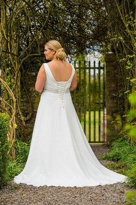 V-Neck Sleeveless Jeweled Chiffon Plus Size Wedding Dress With Ruching And Lace Up