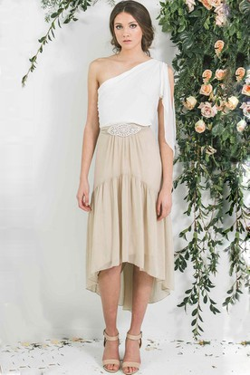 High-Low Jeweled One-Shoulder Sleeveless Chiffon Bridesmaid Dress