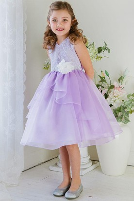 Tea-Length Embroideried Tiered Lace&Organza Flower Girl Dress