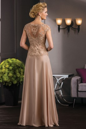 Cap-Sleeved V-Neck A-Line Mother Of The Bride Dress With Appliques And Illusion Back