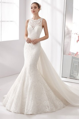 Jewel-Neck Mermaid Lace Wedding Dress With Sheath Style And Detachable Back Bow Train