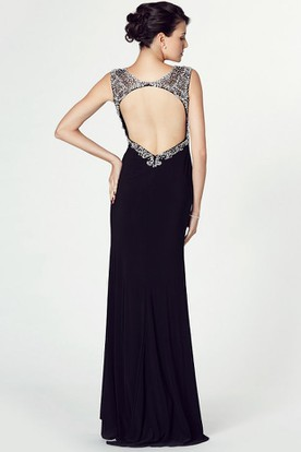 Sleeveless Beaded V-Neck Jersey Prom Dress With Split Front And Keyhole