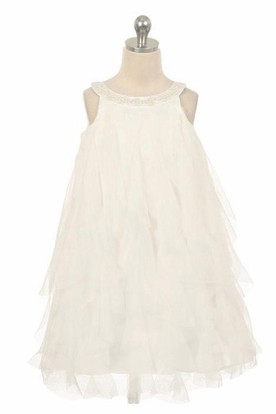 Floral Tea-Length Floral Beaded Satin Flower Girl Dress With Ruffles