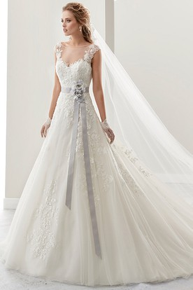 Cap sleeve Lace Bridal Gown with Flower Satin Sash and Open Back