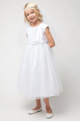 Tea-Length Bowed Empire Sequins&Organza Flower Girl Dress With Tiers