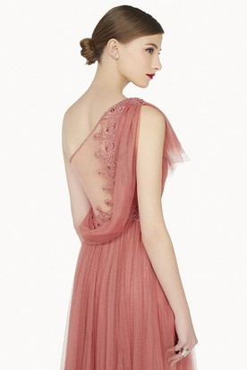 Single Ruffled Strap A-Line Tulle Long Prom Dress Illusion Back With Cowl