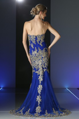 Sheath Long Strapless Sleeveless Backless Dress With Appliques And Beading