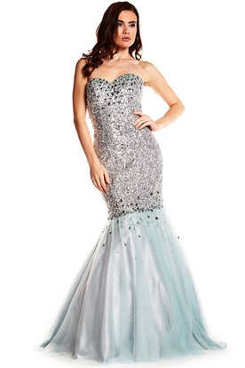 Mermaid Sweetheart Floor-Length Sleeveless Sequins Prom Dress