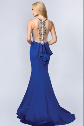 Sheath Halter Sleeveless Jersey Illusion Dress With Beading