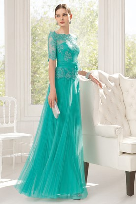 A-Line Floor-Length Off-The-Shoulder Short Sleeve Tulle Appliques Pleats Dress