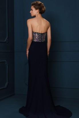c37f4cfca76 Sheath Sleeveless Sweetheart Crystal Chiffon Evening Dress With Brush Train
