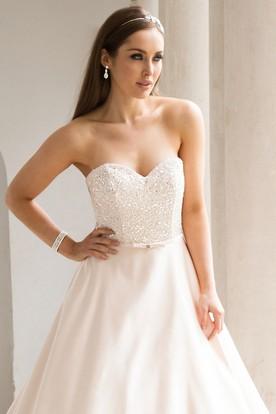 A-Line Beaded Sleeveless Sweetheart Satin Wedding Dress