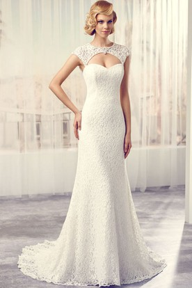 Scoop Floor-Length Cap-Sleeve Lace Wedding Dress With Court Train And Keyhole