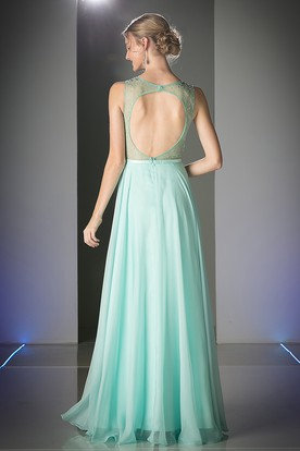 A-Line Scoop-Neck Sleeveless Chiffon Keyhole Dress With Beading And Pleats
