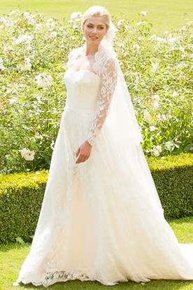 Strapless Floor-Length Long-Sleeve Appliqued Lace Wedding Dress