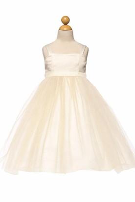 Tea-Length Spaghetti Tiered Empire Tulle&Satin Flower Girl Dress