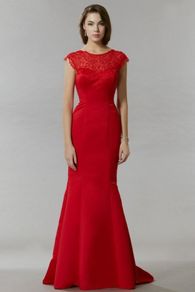 Mermaid Cap-Sleeve Lace Scoop Maxi Satin Prom Dress With Low-V Back And Sweep Train