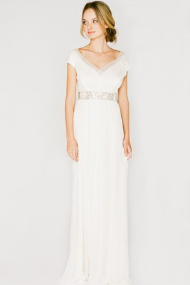 V-Neck Long Ruched Cap-Sleeve Chiffon Wedding Dress With V Back