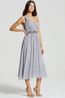 Tea-Length Sleeveless One-Shoulder Ruched Chiffon Bridesmaid Dress With Beading