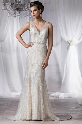 V-Neck Sleeveless Mermaid Wedding Dress With Beadings And Deep V-Back
