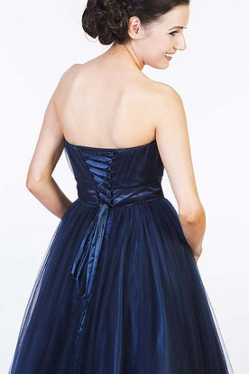 A-Line Beaded Sleeveless Sweetheart Tulle Prom Dress With Corset Back
