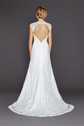 A-Line Long Queen Anne Lace Wedding Dress With Appliques And Keyhole