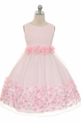 Tea-Length Tiered Chiffon&Satin Flower Girl Dress