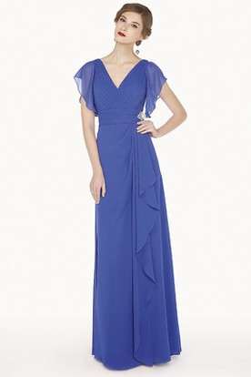 V Neck Side Drape A-Line Chiffon Long Prom Dress With Ruffled Short Sleeve