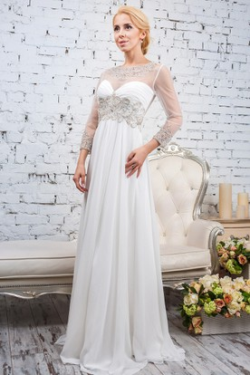 Sheath Bateau-Neck Floor-Length Beaded Long-Sleeve Tulle&Satin Wedding Dress With Pleats