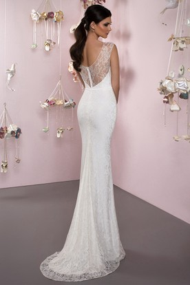 Bateau Floor-Length Appliqued Lace Wedding Dress With Brush Train And V Back