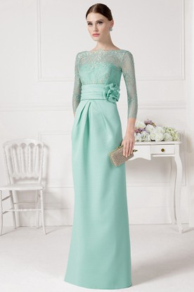 3-4 Sleeve Floral Bateau Neck Satin Prom Dress With Beading And Appliques