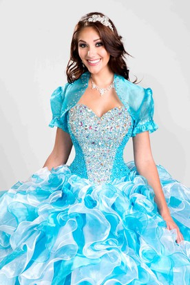 Sweetheart Ball Gown With Glittering Corset And Ruffle Skirt